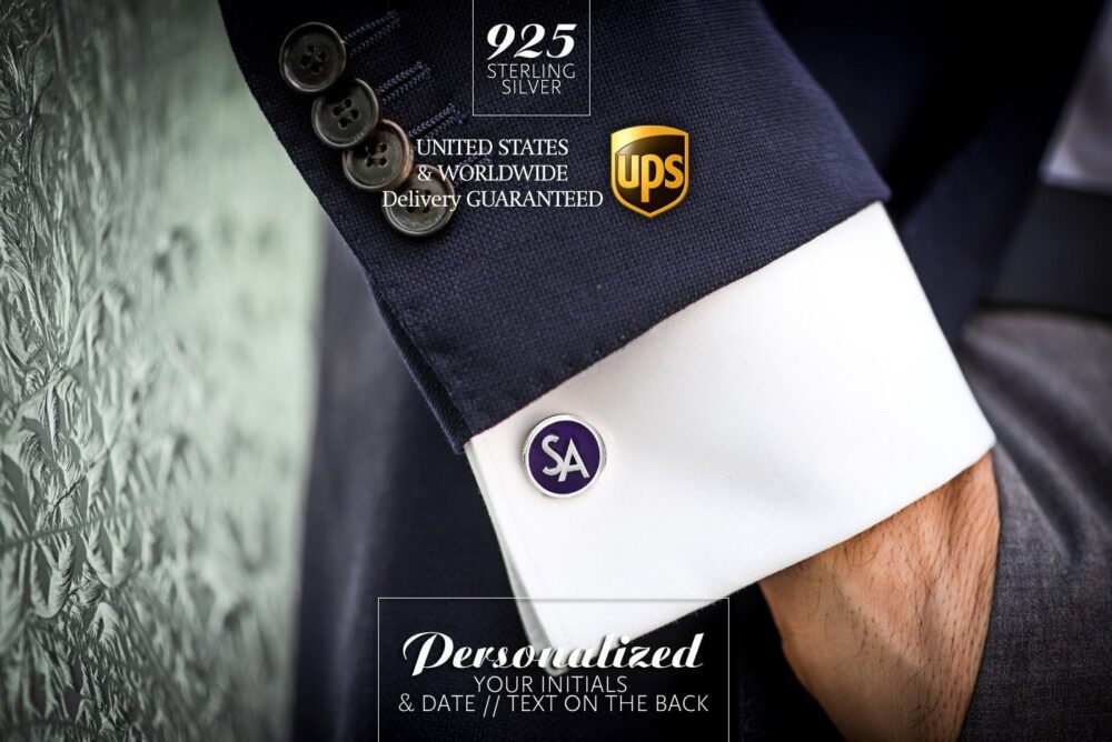 Purple Cufflinks, Wedding Cufflinks For Groom, Father Of The Bride Personalized, Gift Groom