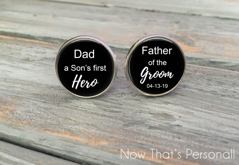 Father Of The Groom Gift, Father Groom Cufflinks - Personalized Gift For Groom, Groom Gift From Son