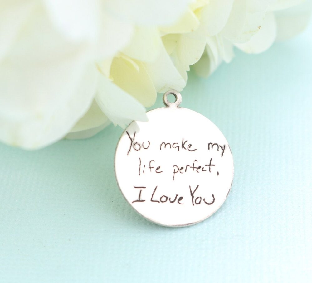 Actual Handwriting Bouquet Charm - Personalized Wedding Silver Necklace Rustic