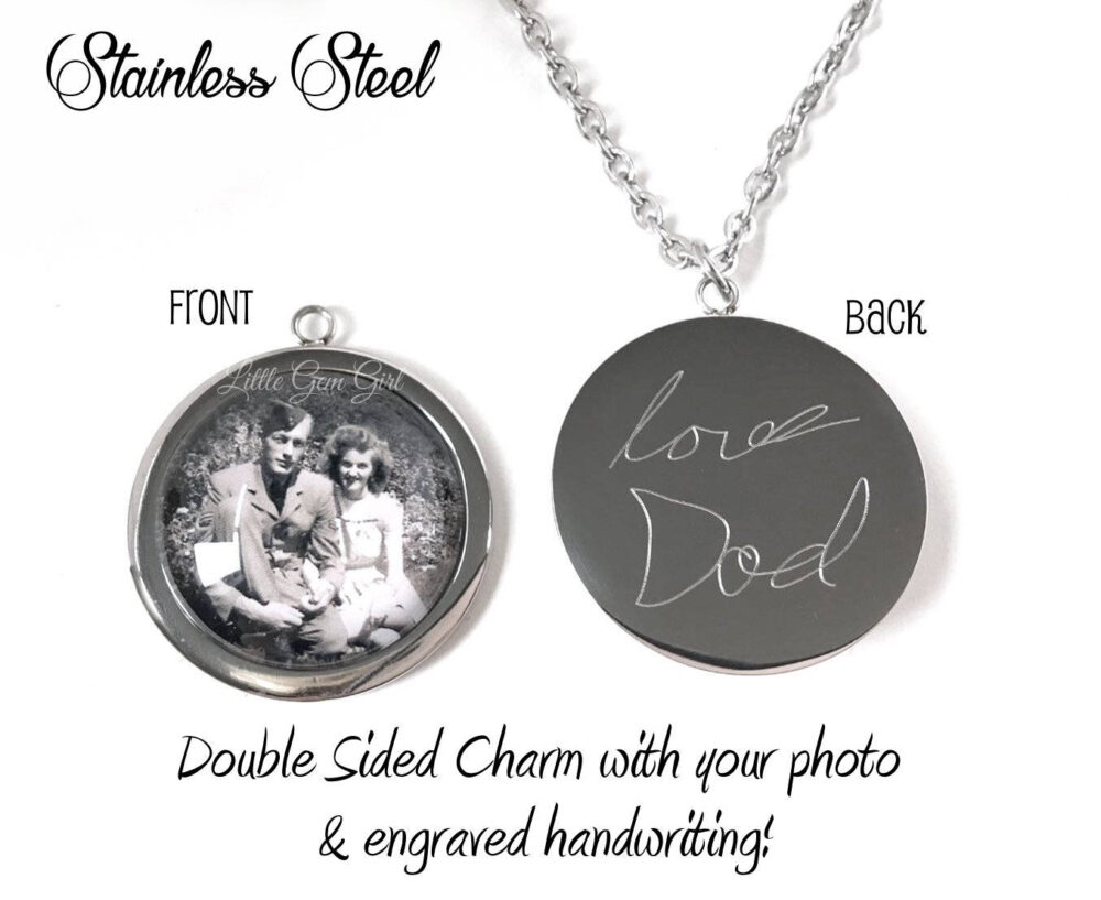 Stainless Steel Photo Necklace - Handwriting With Custom Picture Charm in Memory Engraving