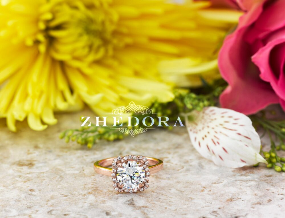 Flower Engagement Ring Round Cut Halo 14K/ 18K Solid Rose Gold, Forever One Moissanite Ring, White Sapphire Wedding By Zhedora