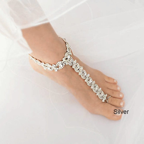 Wedding Rose Gold Barefoot Sandals, Crystal Bridal Foot Jewelry, Silver Rhinestone Footless Sandal-Sd016