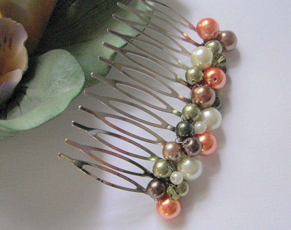 Fall Wedding Hair Comb For Bridesmaids, Flower Girl Mother Of The Bride Pearl Comb, Olive Orange Brown & Cream Pin