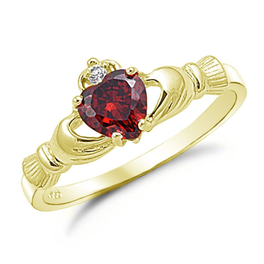 Claddagh Ring, Garnet Cz Gold Plated 925 Sterling Silver Promise Engagement Purity Friendship Ring
