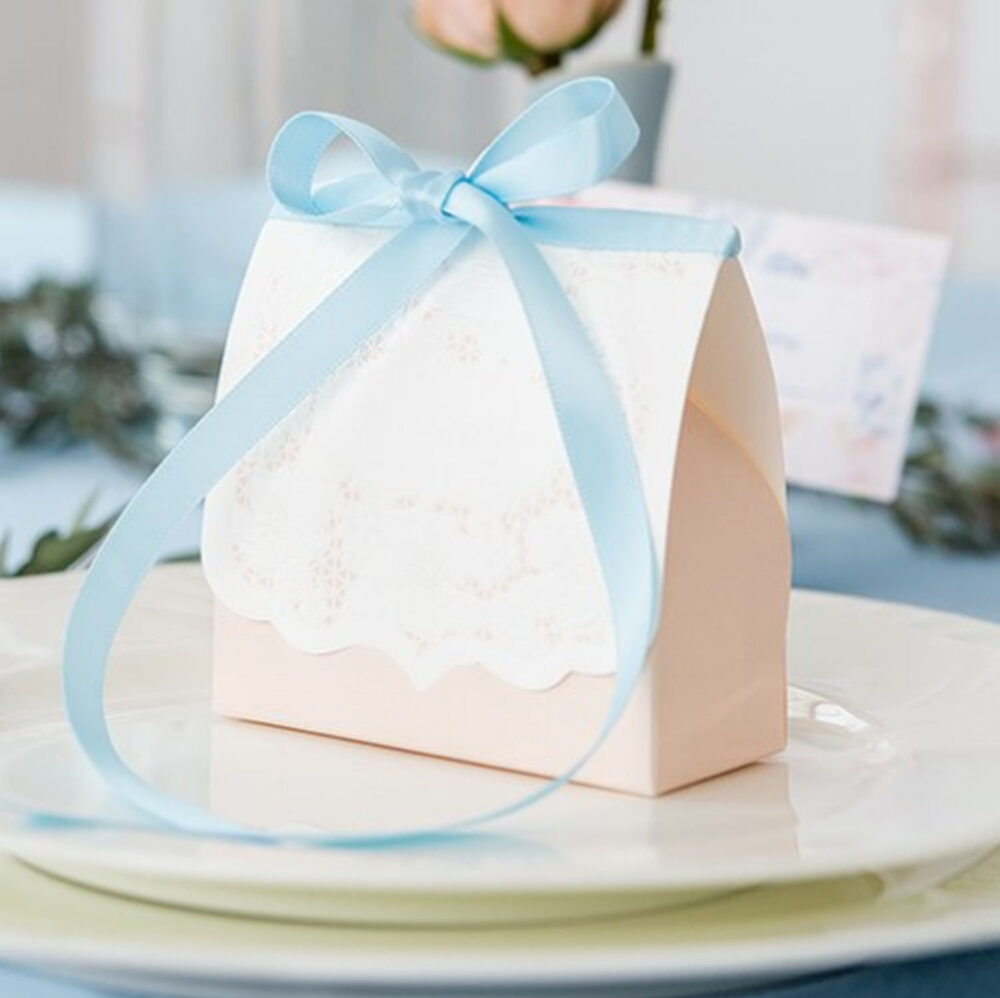 Floral Lace Favor Boxes Wedding Bridal Shower - Always Forever Candy Favors Party Gift Set Of 10 Mw26043