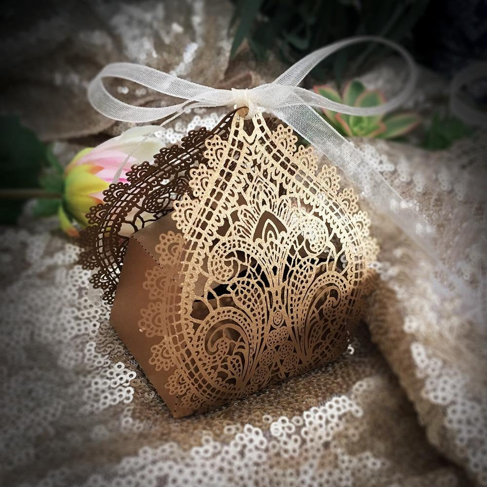 20 Chantilly Lace Laser Cut Favor Box By Paper Orchid