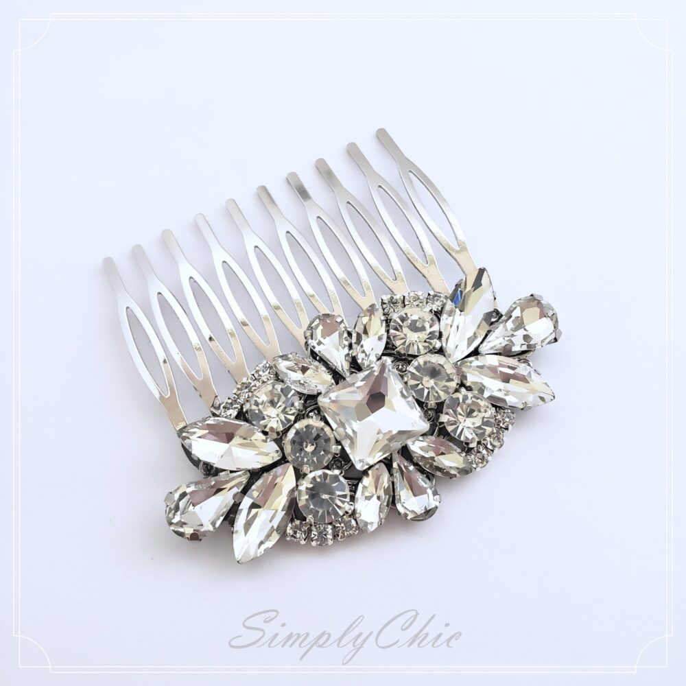 Wedding Rhinestone Hair Comb, Clear Crystal Comb, Victorian Style Accessories, Princess Comb 2020