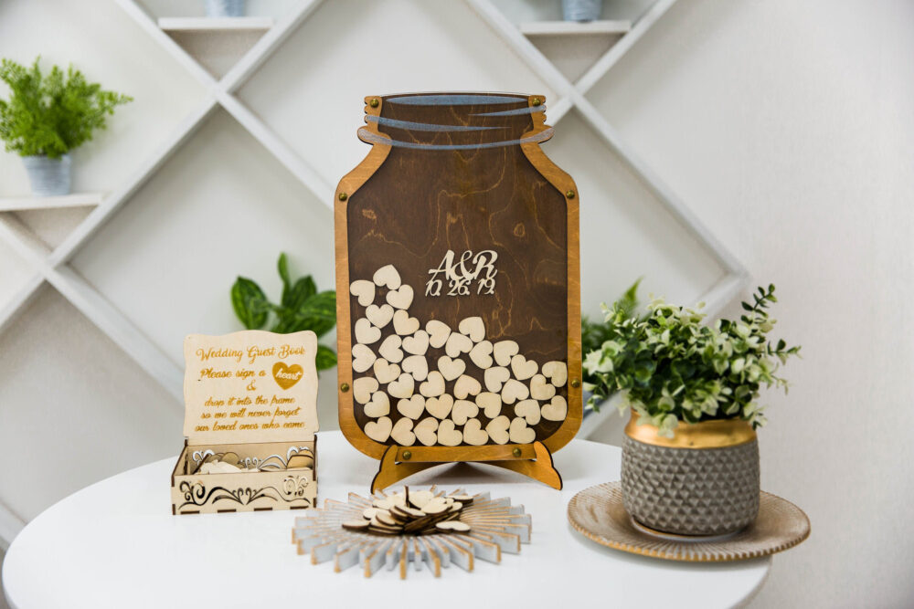 Mason Jar Wedding Guest Book Alternative, Drop Box Book, Guestbook For 30-250 Guests, Personalized Guest Book