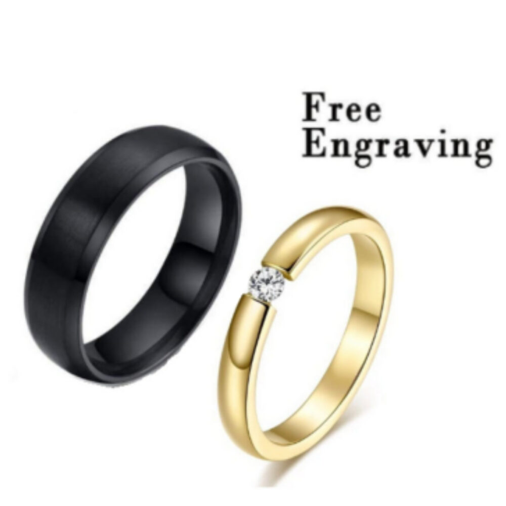 Promise Ring Set, Set For Him & Her, Matching Promise Rings, Gold Black Ring Couples, Matching Rings Custom Engraving