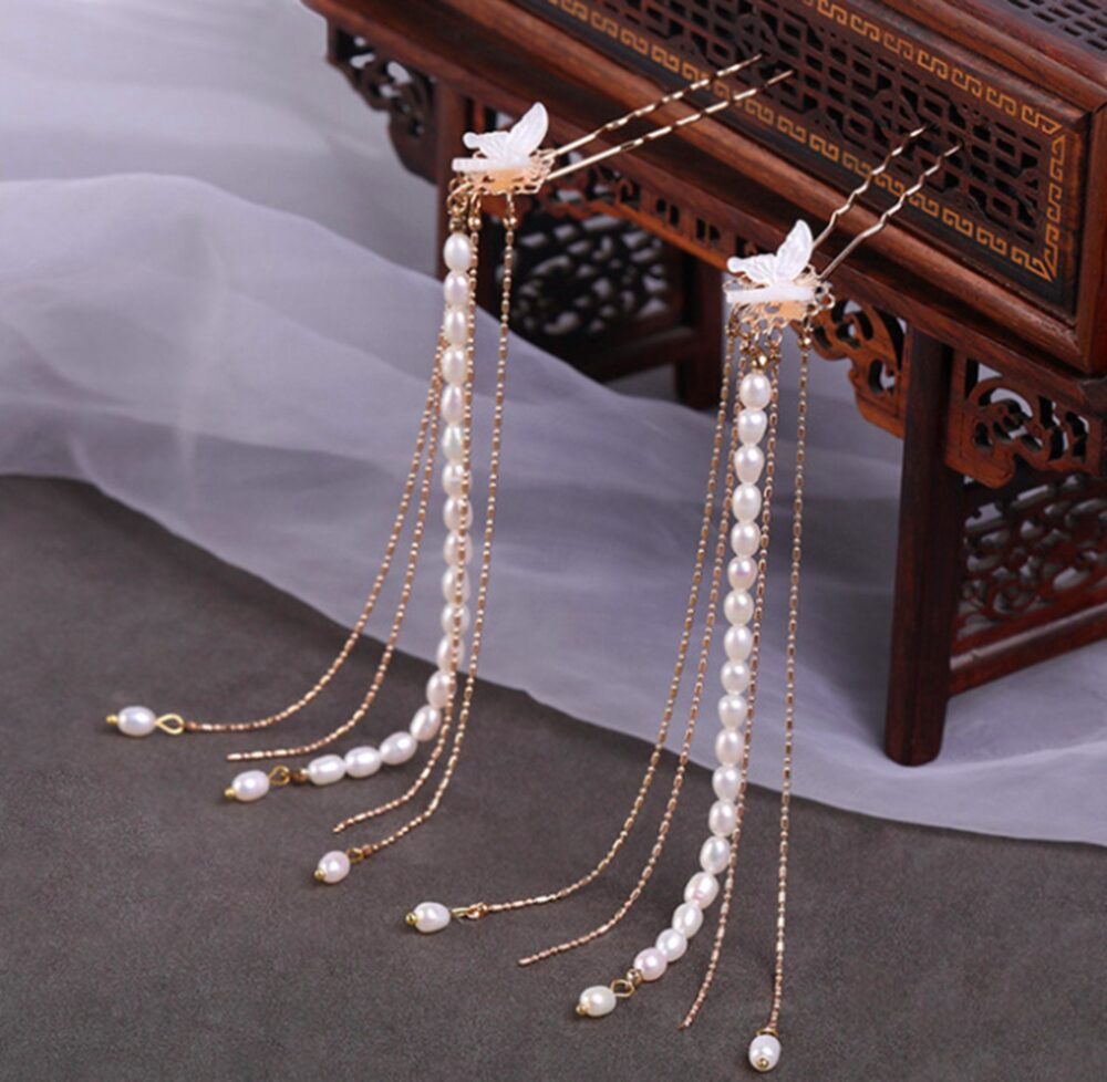 White Butterfly Chinese Wedding Hair Pin With Long Tassels Stick Pearls Pins Retro Sticker