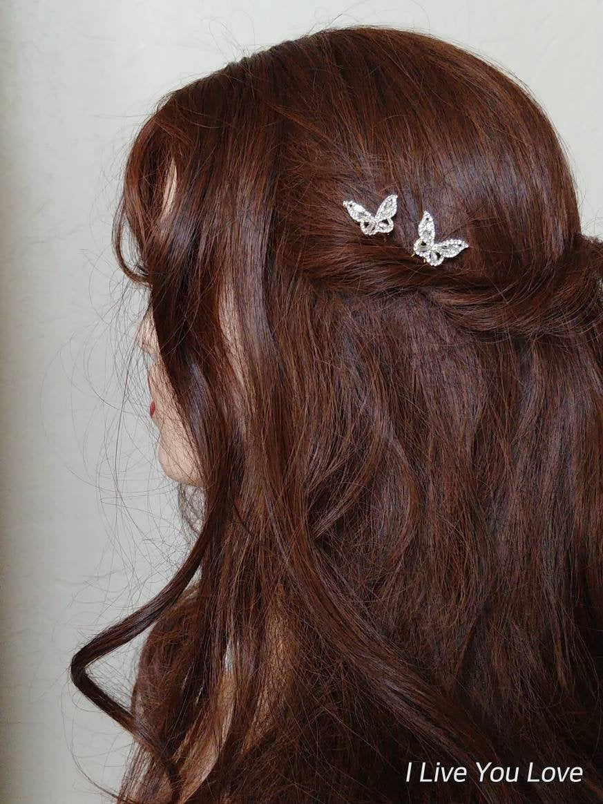 Bridal Hair Pin Set-Gold Accessories-Gold Wedding Accessories-Butterfly Pins-Wedding Pins-Art Deco Hair-Butterfly