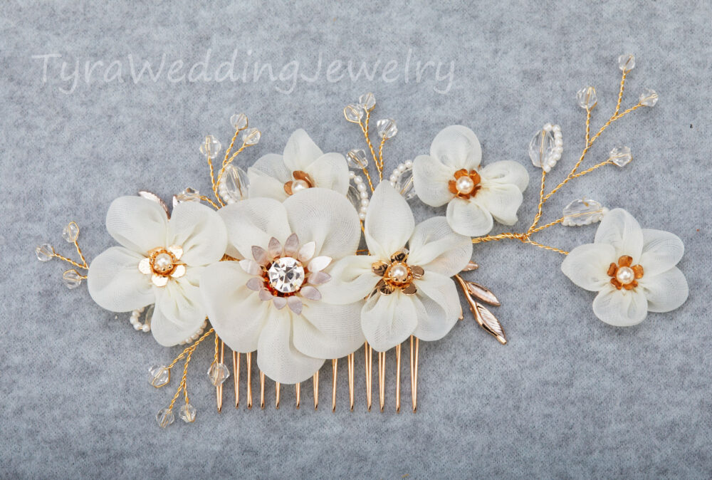 Gold Floral Crystal Hair Comb, Bridal Silk Flower Piece, Lace Cotton Flower, Crystal Wedding Comb, Bridal Headpiece, Hair Accessories