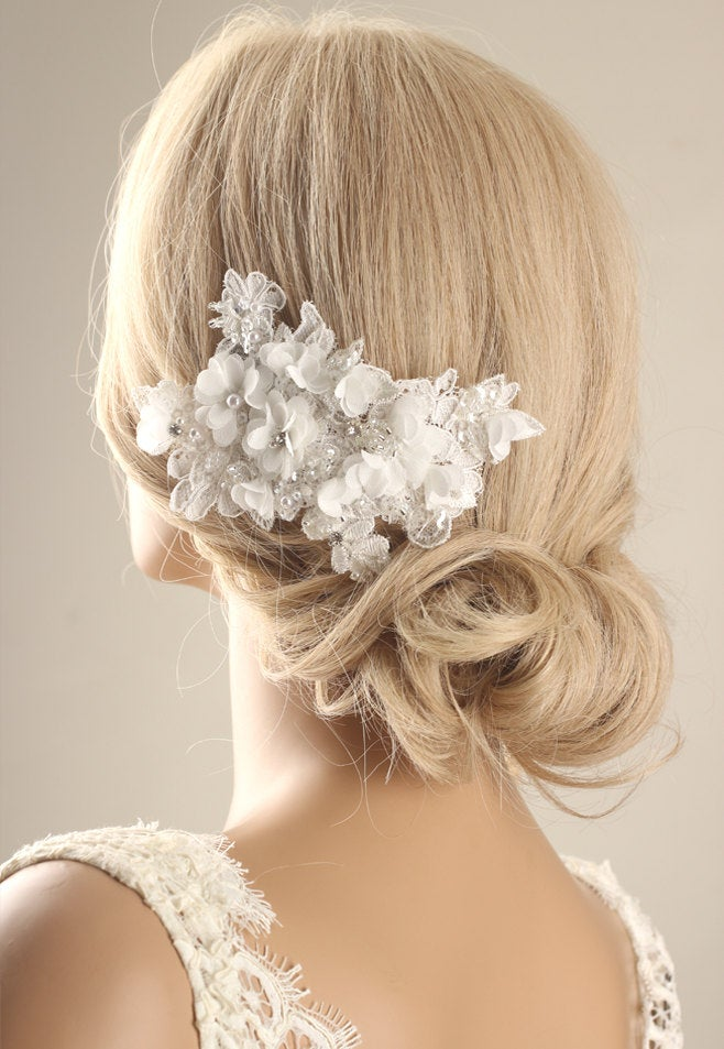 Bridal Hairpiece, Flower Hair Comb, Lace Accessory, Wedding Headpiece, Comb