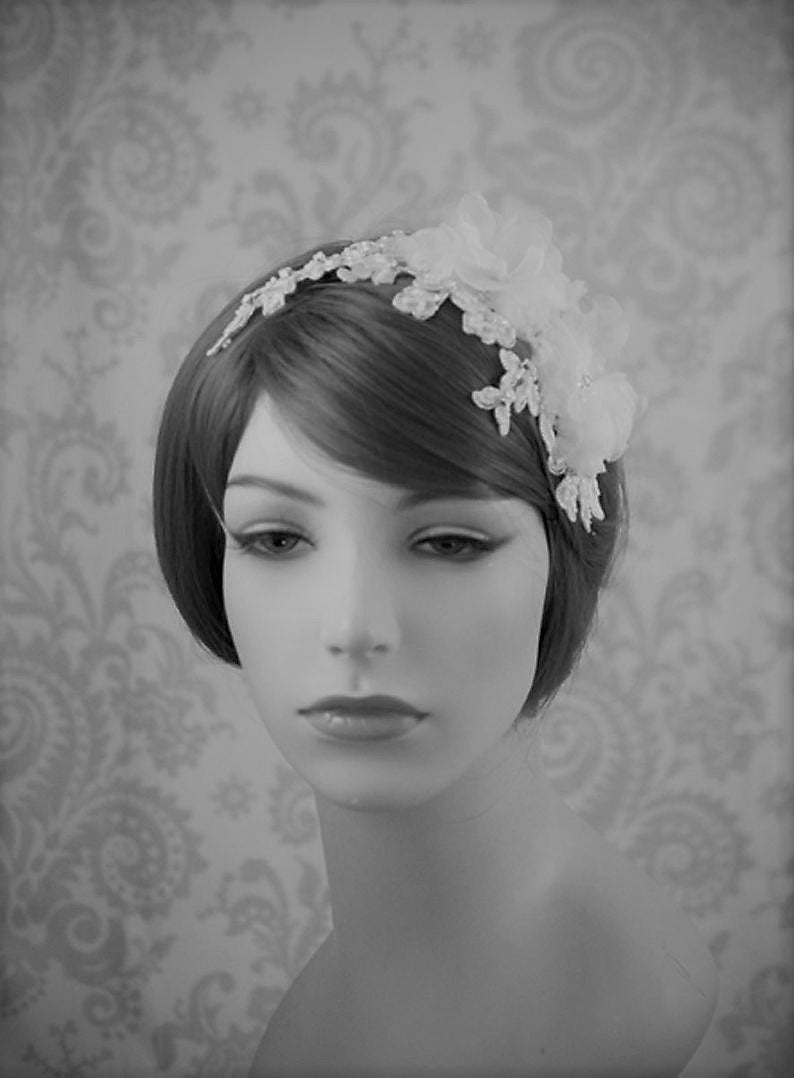 Flower & Lace Beaded Wedding Headband For Girls, Pearl Bridal Hair Comb Wedding, Silver Floral Clip Piece