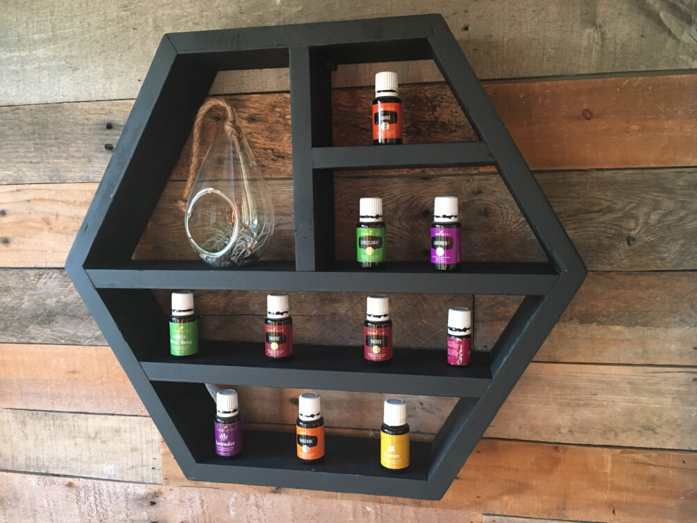 Oil Holder, Aromatherapy Shelf, Essential Oil Storage, Large Hexagon Storage, Rustic Mother's Day Gift