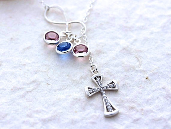 Infinity Necklace. Mother Necklace Birthstones . Cross & Infinity, Sterling Silver Necklace, Lariat Mothers Gift Ideas