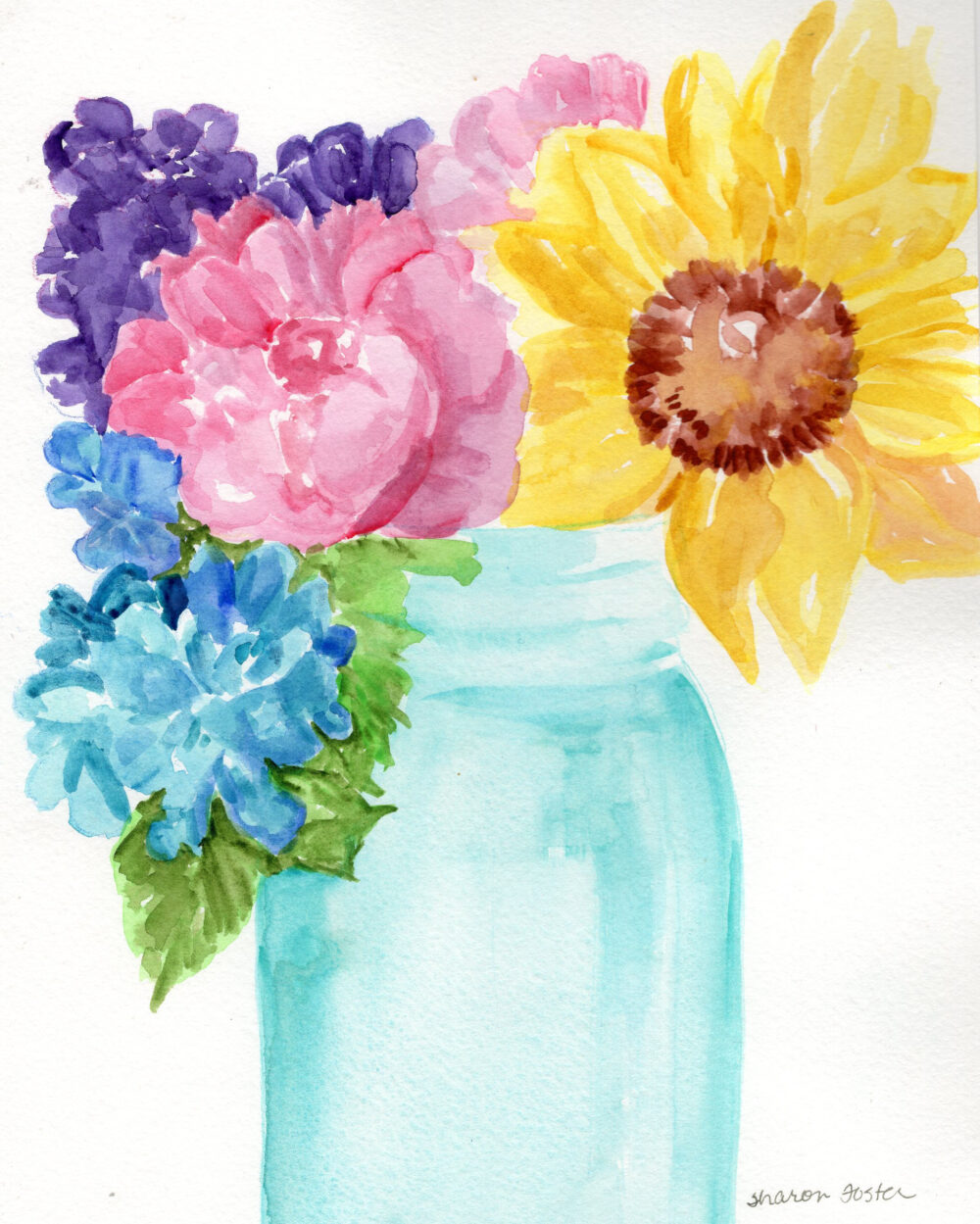 Flowers Original Watercolor Painting in Mason Jar Art, Small Floral 8 X 10 Home Decor, Gift For Her