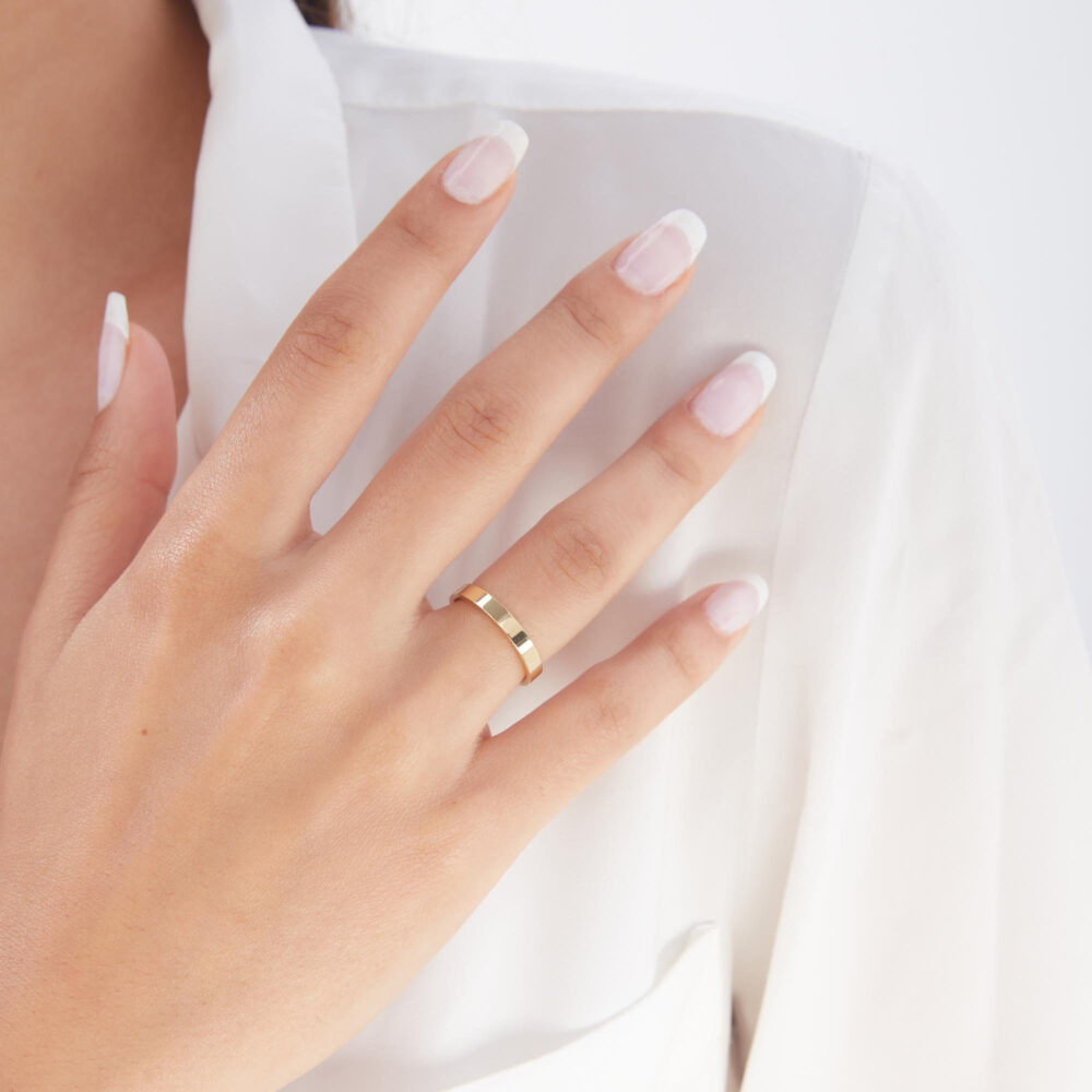 3mm Gold Plain Wedding Band Ring - 14K Solid Set Simple His & Hers Rings