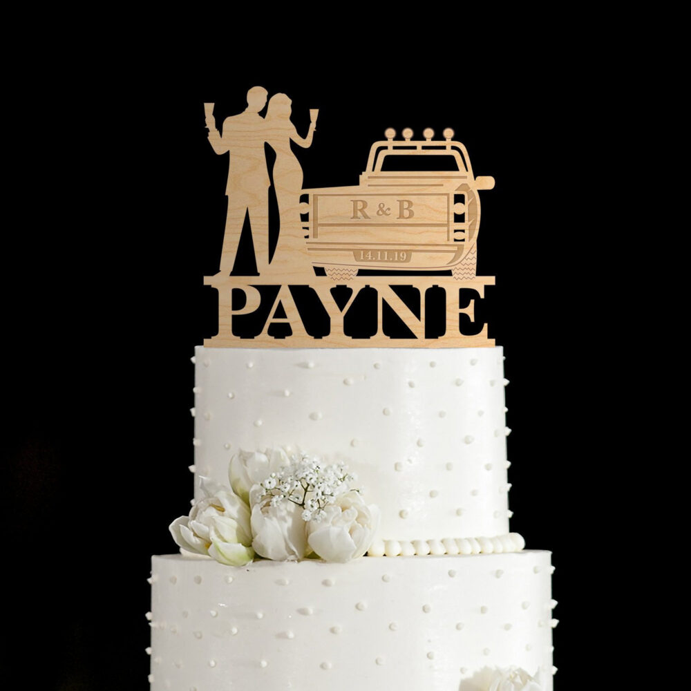 Pick Up Truck Wedding Cake Topper With Bride & Groom, Pick Truck, Truck Cake Topper, Pick Topper, Wedding Toppers, 74