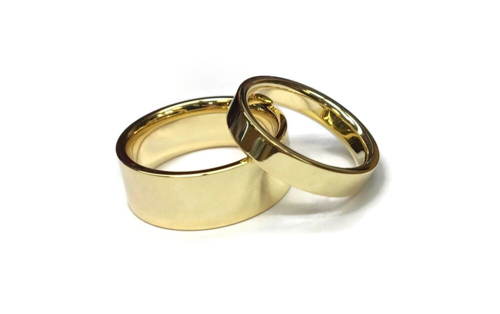 Flat Gold Wedding Bands ~ 14 Karat Simple Minimalistic Ring Outside & Comfort Fit Rounded Inside 2mm 3mm 4mm 5mm 6mm 7mm Or 8mm