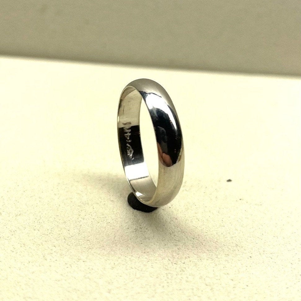 14K Solid White Gold Wedding Bands Half Round Style 2mm 3mm 4mm 5mm 6mm Widths , Classic Dome Band, Rings
