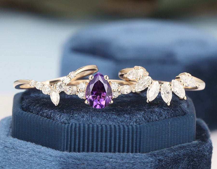 Amethyst Engagement Ring Sets Pear Shape Cluster Rose Gold Unique Vintage Women Marquise Cut Wedding Anniversary Ring