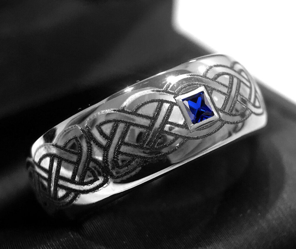 Mens Wedding Band, Tungsten Rings, Celtic, Bands, Celtic Design Ring, His Her Promise Blue Square Sapphire