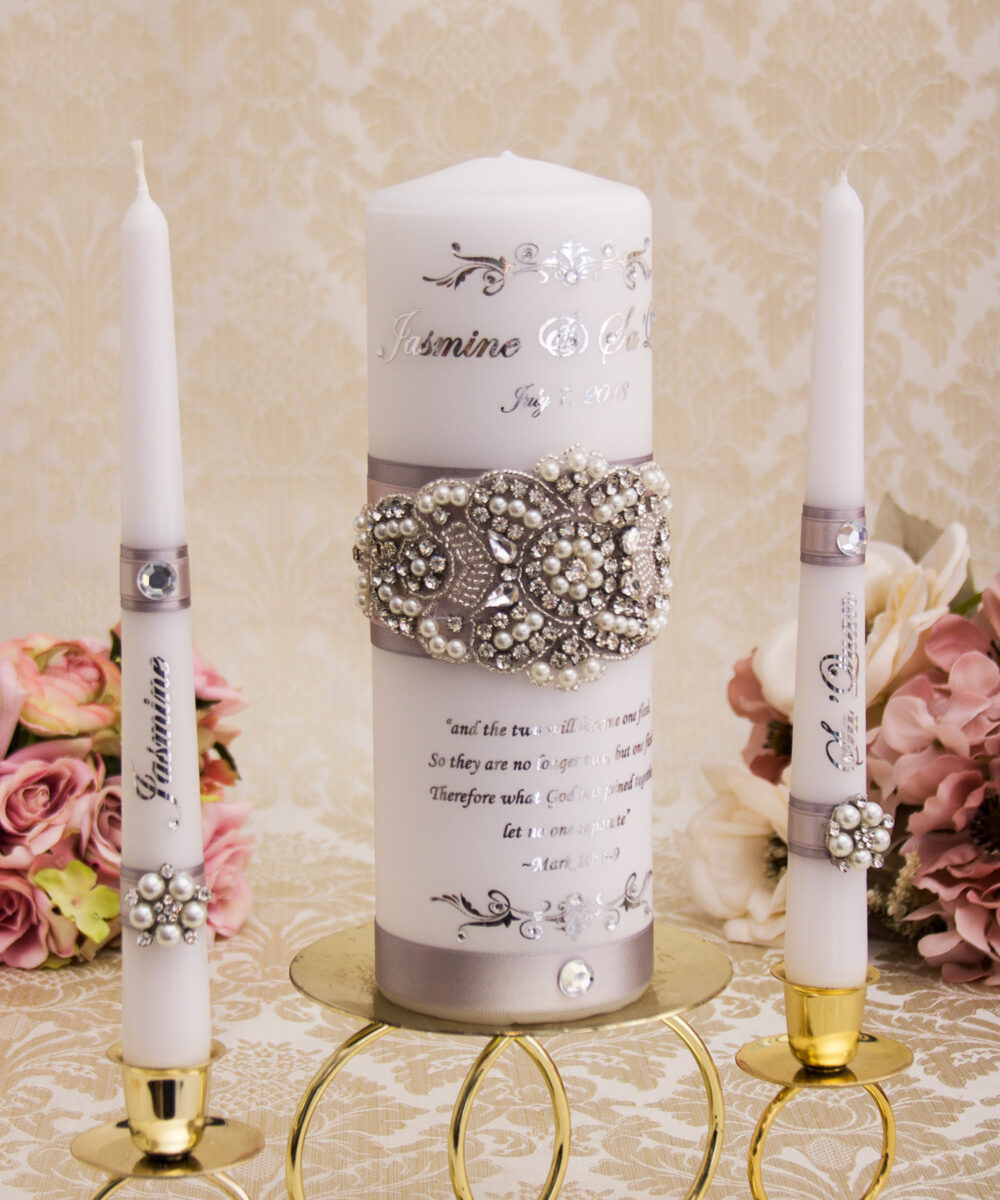Pearl Wedding Unity Candle Set, Silver Candles Personalized Set