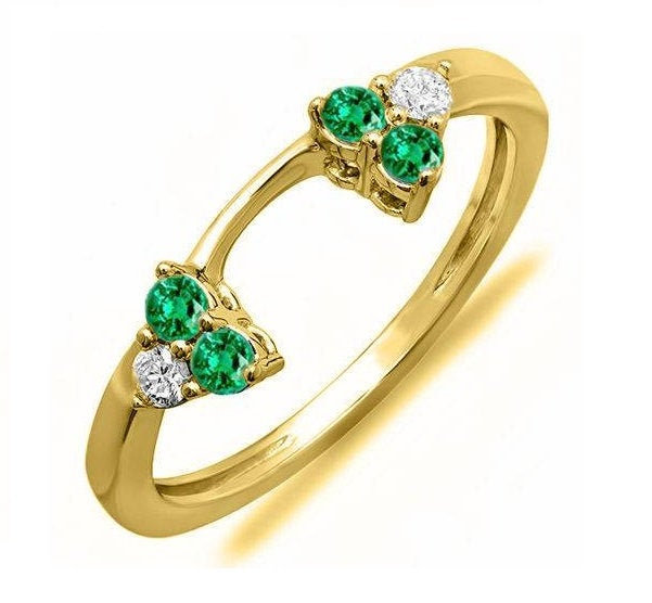 14K Yellow Gold Plated Sterling Silver Round Cut Green Emerald & White Diamond Ladies Wedding Ring Matching Enhancer Guard Band