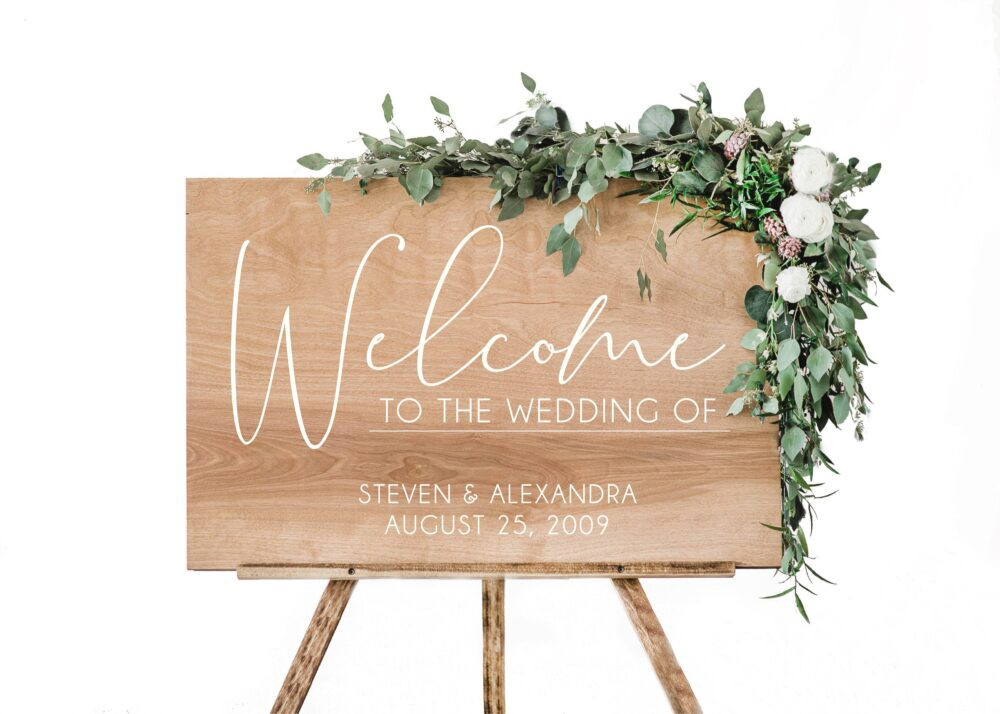 Wedding Welcome Entrance Sign With Names & Date   Rustic Signage Wood Signs Decor - Scc-9