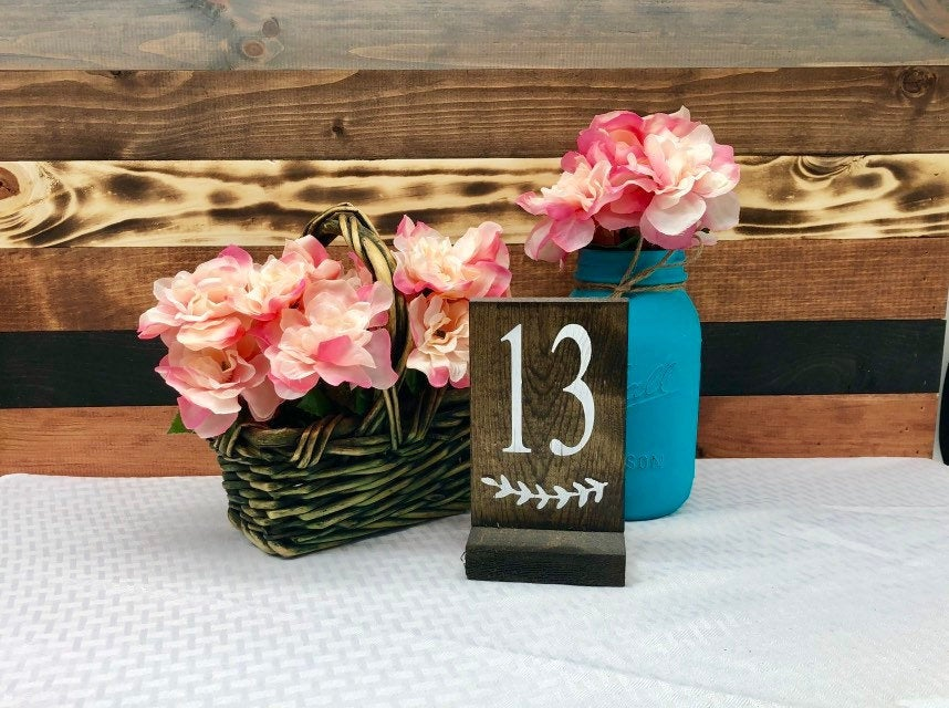 Wooden Table Numbers - Wedding Rustic Decor Wood Number Signage