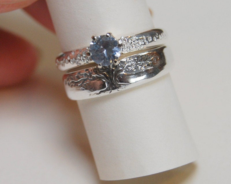 Wedding Band Set/Tree Of Life Rings /Three Piece Set Sterling Engagement Silver Bands White Sapphire Tapered Band
