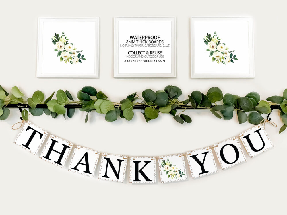 Thank You Banner -Thank You Sign- Wedding Banner Photo Prop - Sign Decoration