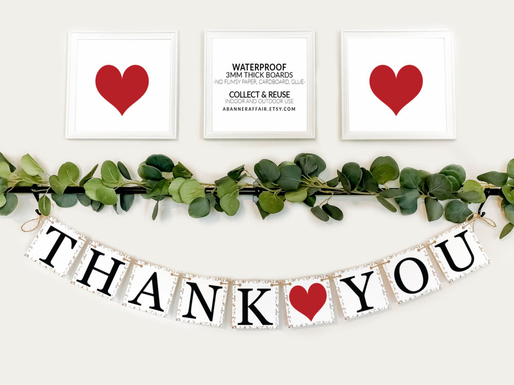 Thank You Sign - Rustic Wedding Banner Photo Prop Decoration