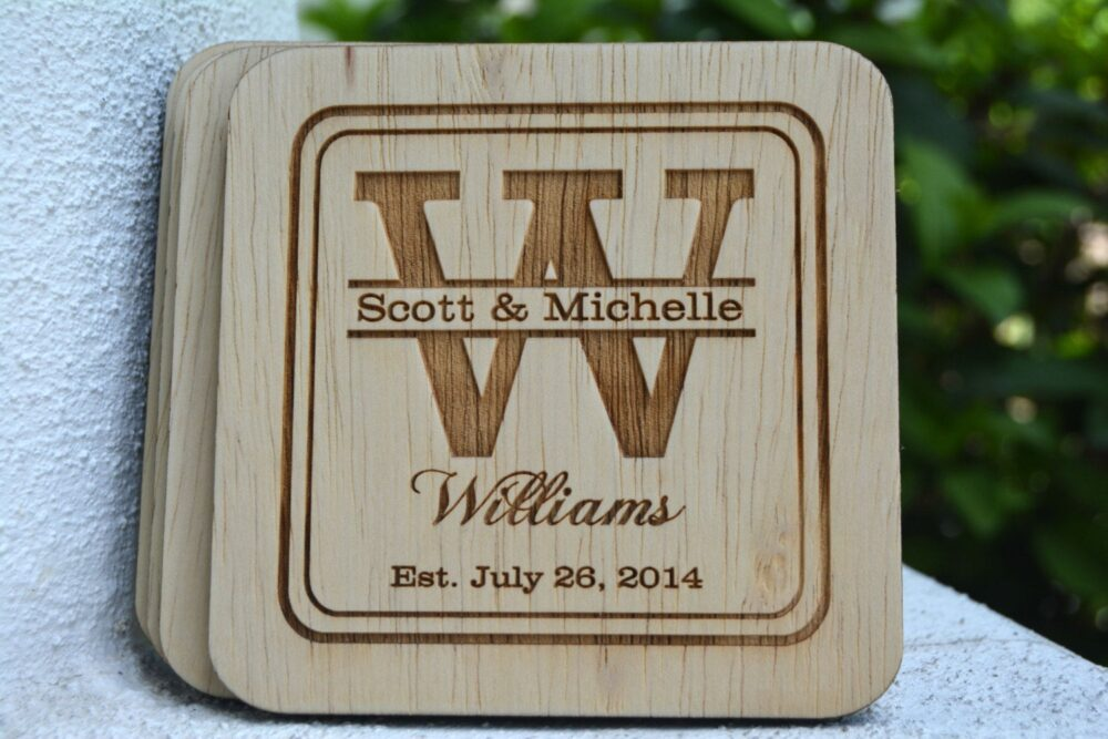Wedding Favor Personalized Coasters, Wood Coasters Favor