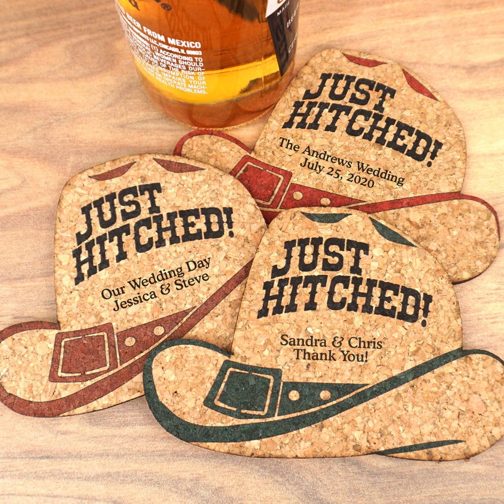Wedding Favor Coasters, Personalized Cowboy Hat Shaped Cork Coasters - Set Of 12