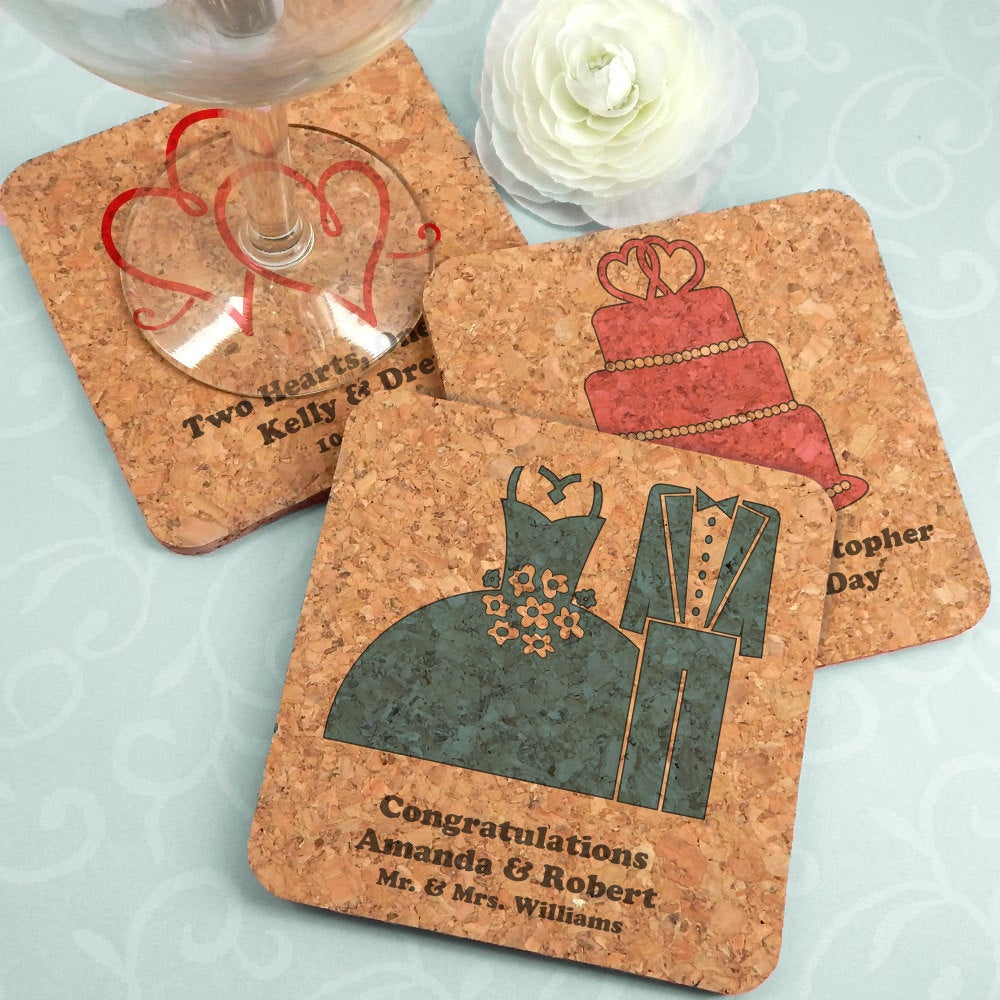 Wedding Favor Coasters, Personalized Square Cork Coasters - Set Of 4