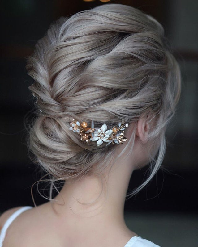 Wedding Hair Piece Gold Bridal Comb Hair Accessories Rose Comb Rose Gold