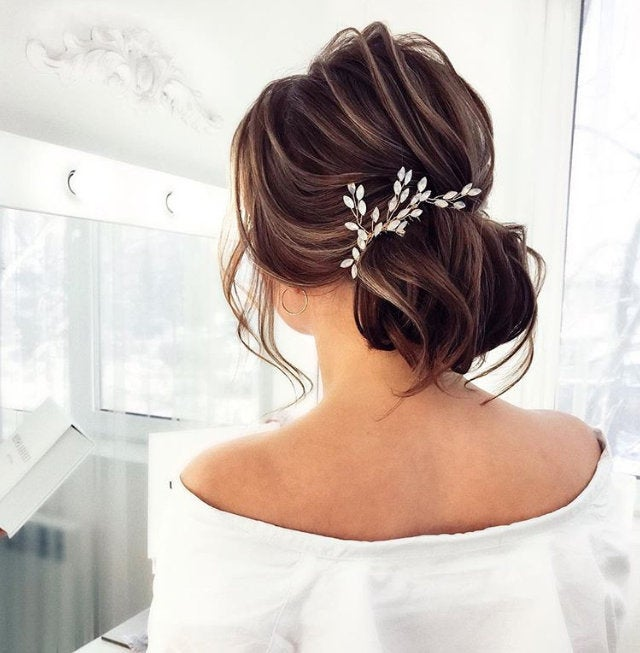 Bridal Hair Comb Gold Wedding Hair Comb Crystal Opal Colored Halo Crown Pearl & Crystal