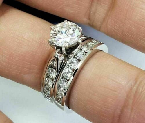 2.00 Ct Round Moissanite Engagement Ring Set 14K White Gold, Wedding Band Ring, Solitaire Bridal 6 Prong Simulated Diamond
