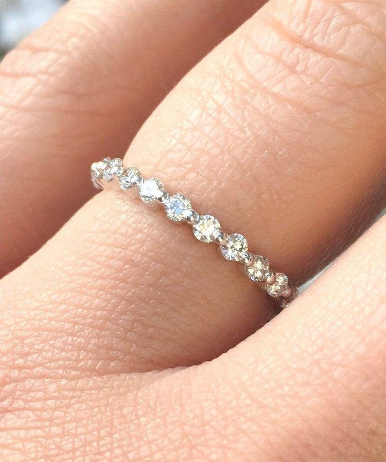 Moissanite Band, Full Eternity Wedding 1.70Ctw Pave Set Accent 925 Sterling Silver Ring, 14K Band Ring