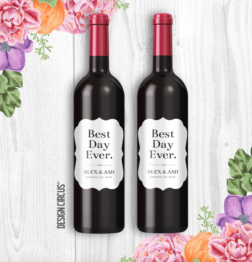 Custom Wedding Wine Bottle Labels, Best Day Ever, Modern & Simple Personalized Party Champagne Favors, Sticker