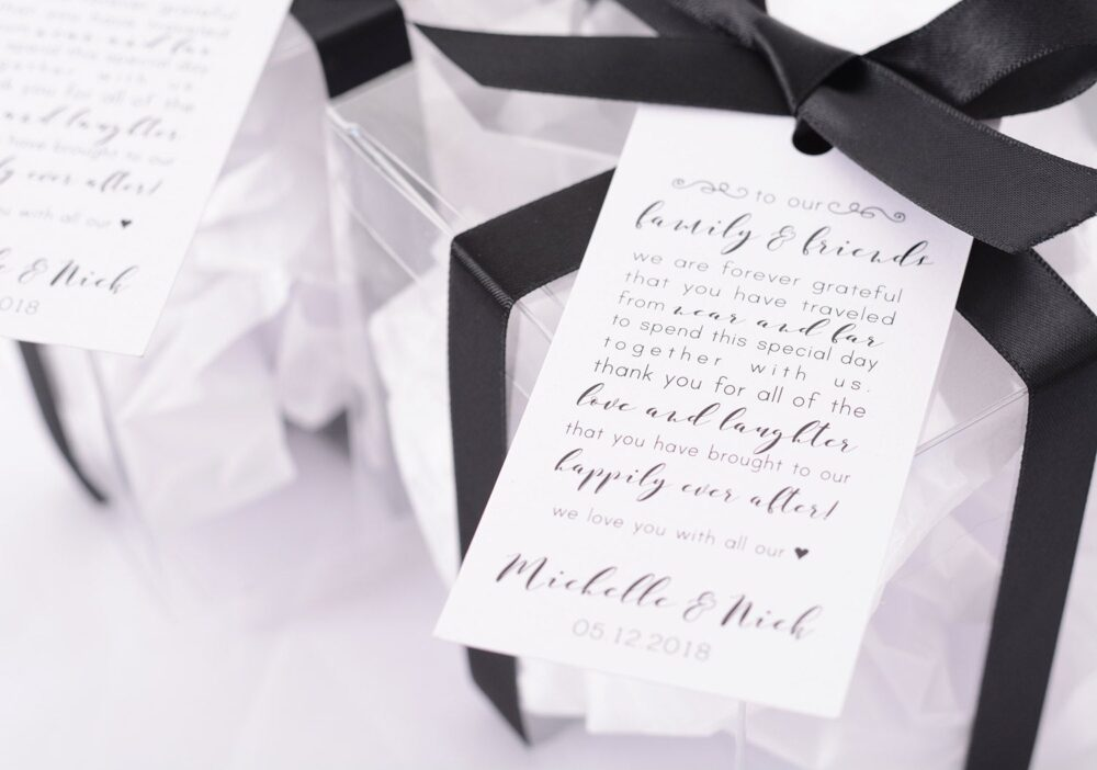 Wedding Gift Tags - Wine Bottle Tags, Favor Box Bag Personalized Hanging Thank You Note