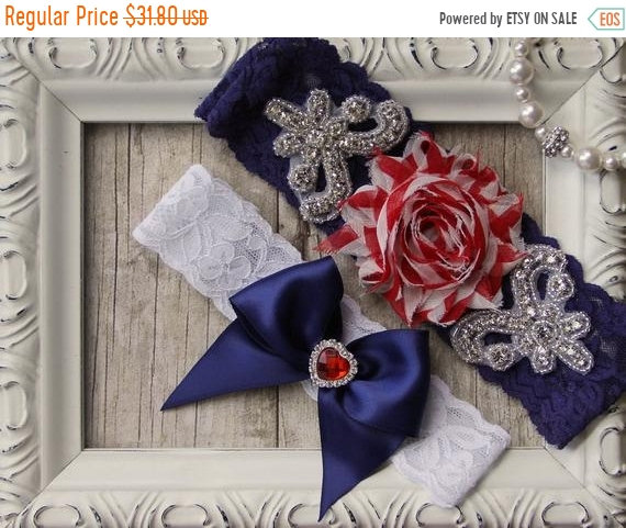 On Sale Patriotic Wedding Garter Set, 4Th Of July Garter, Customizable Bridal Set. Several Choices Available. No Slip & Personalized