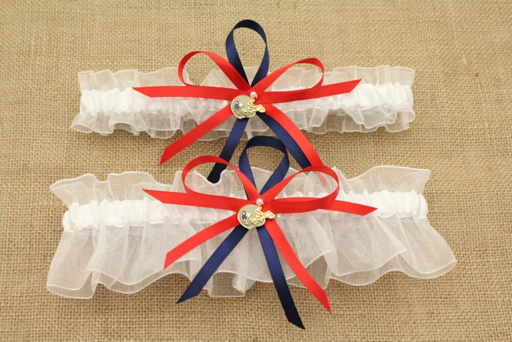New England Patriots Inspired Wedding Garter Set With Charms, Bridal Garter, Prom Garters | Your Choice, Single Or Set