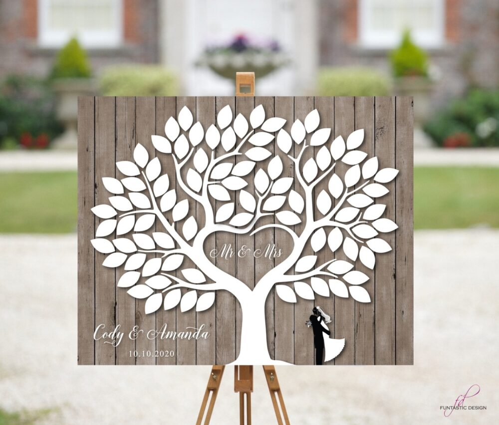 Rustic Wedding Guest Book Alternative Tree With 90 Signature Leaves Barn Wedding Canvas Wood Wooden