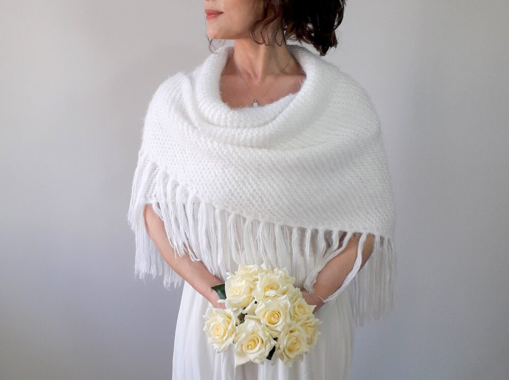 Winter Wedding Shawl, Bridal Cover Up, White Mohair Wrap, Bridesmaid Gift, Knit Scarf, Fuzzy Wool, Fringed, Triangular, Fast Shipping