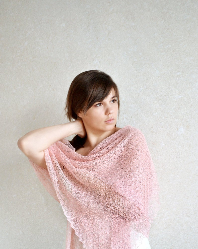 Blush Pink Linen Shawl Wedding Lace Scarf Bridesmaid Bridal Cover Up Summer Knit Stole Sheer Wrap Knitted Gauzy Beach