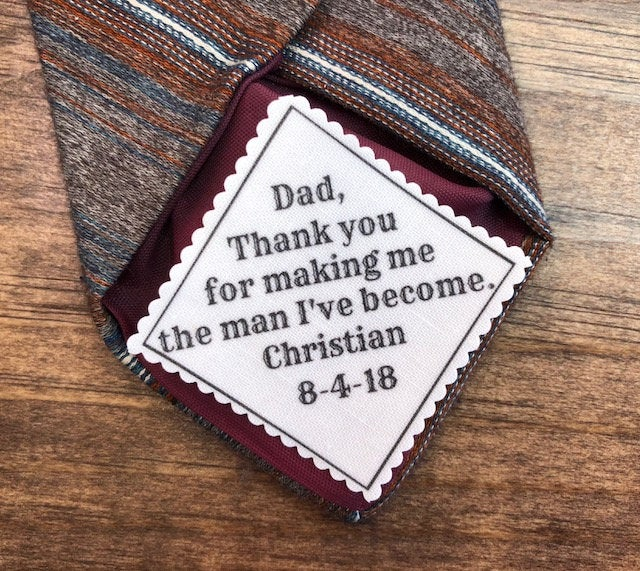 """Father Of The Groom Wedding Tie Patch - Sew On, Iron Personalized Patch, From Bride, Groom, 2.5"""" Or 2"""" Wide Choose Font"""