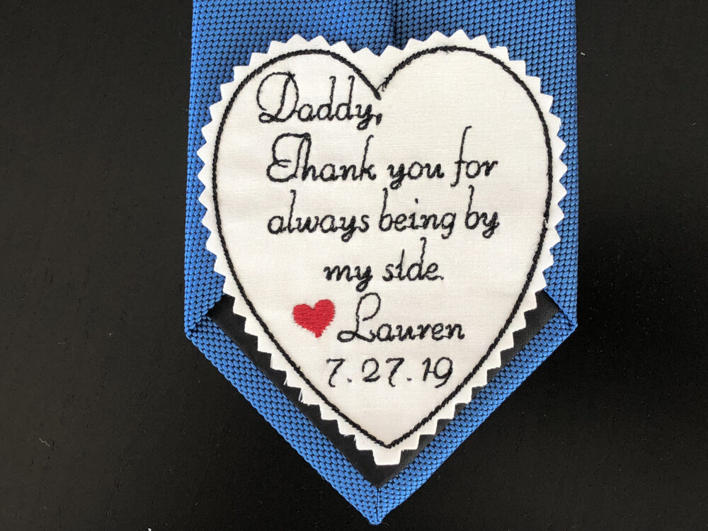 Wedding Tie Patch For Dad, Father Of Bride Gift, Personalised Heart Label, Suit Vest Patch, Custom Embroidered Patch, Iron On Option